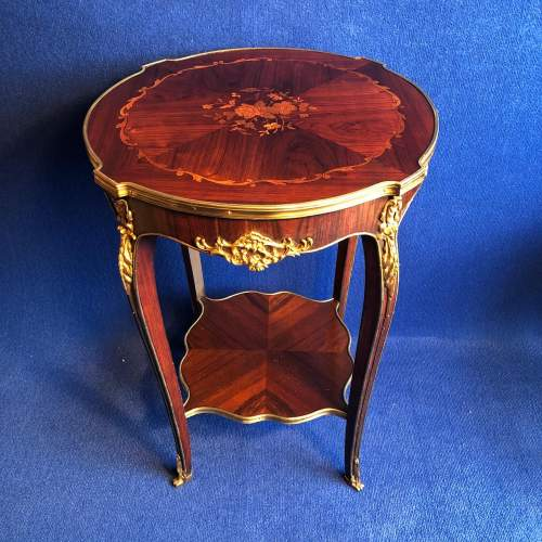Victorian French Rosewood and Marquetry Occasional Table image-1