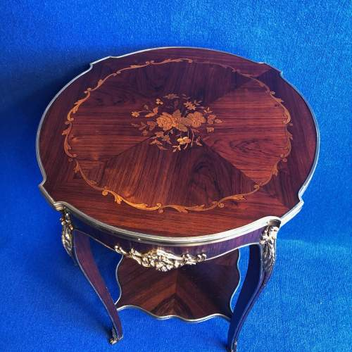 Victorian French Rosewood and Marquetry Occasional Table image-2