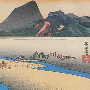 Utagawa Hiroshige 19th Century Woodblock Print River Scene