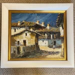 Murcha Oil on Canvas Rural Spanish Street Scene
