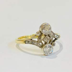 Art Deco French 18ct Gold Diamond Ring
