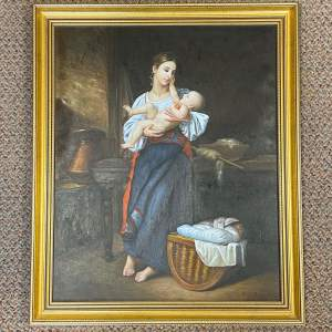 Rob James 20th Century Oil on Canvas of Mother and Child