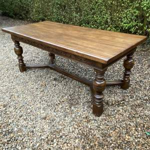 Good Quality  Large Solid Oak Refectory Dining Table