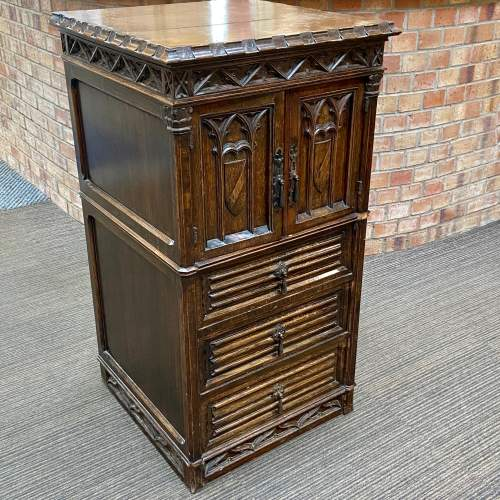 Gothic Revival Carved Oak Two Door Cupboard image-1