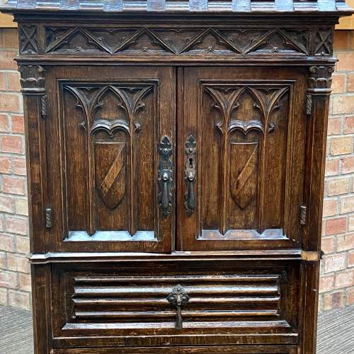 Gothic Revival Carved Oak Two Door Cupboard image-3