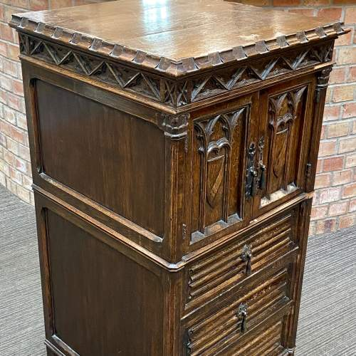 Gothic Revival Carved Oak Two Door Cupboard image-4