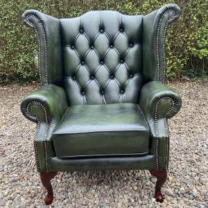 Vintage Leather Wingback Armchair