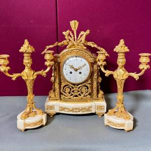 Fantastic Vincenti Ormolu and Marble Clock and Candlesticks