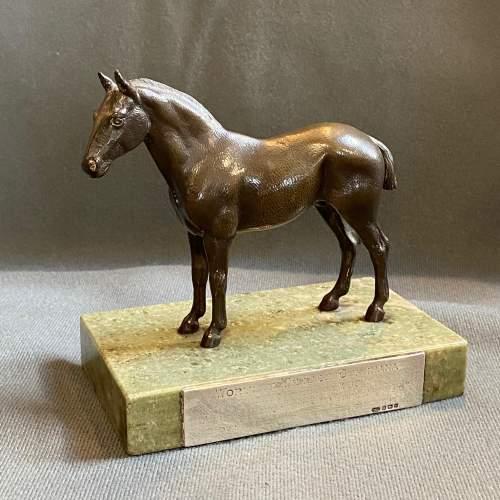 Mid 20th Century Bronze Horse on Marble Base image-1