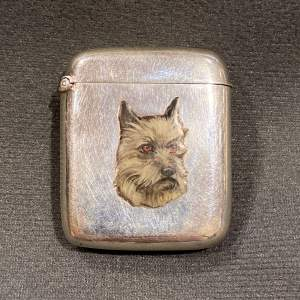 Victorian Silver and Champleve Enamel Dog Vesta Case
