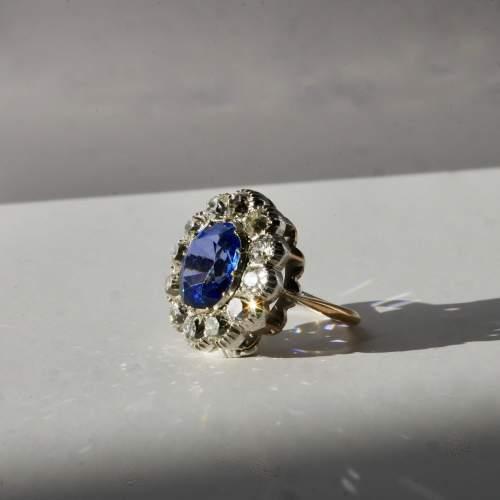 Ceylon Natural Unheated Blue Sapphire Old Mine Cut Diamond Ring image-2