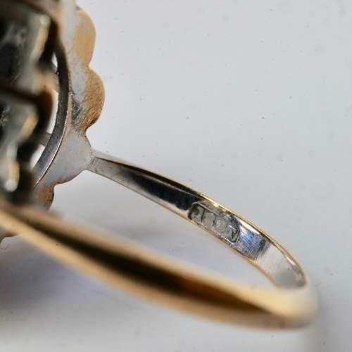 Ceylon Natural Unheated Blue Sapphire Old Mine Cut Diamond Ring image-5