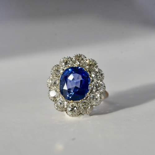 Ceylon Natural Unheated Blue Sapphire Old Mine Cut Diamond Ring image-3