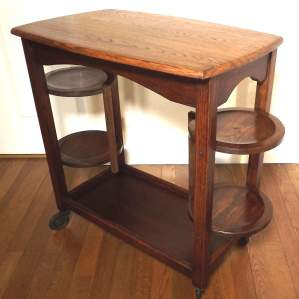 Unusual 1950s Oak 2 Tier Tea Trolley with Double Fold Cake stand