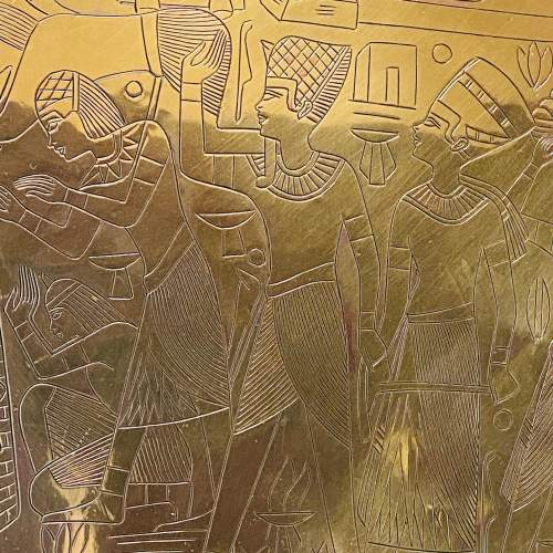Large Egyptian Engraved Brass Wall Hanging Plate image-2
