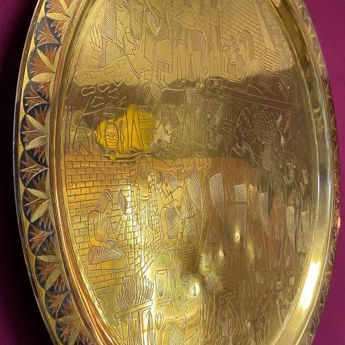 Large Egyptian Engraved Brass Wall Hanging Plate image-3