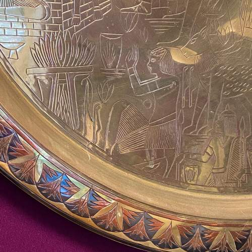 Large Egyptian Engraved Brass Wall Hanging Plate image-4