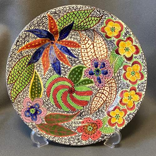 1930s Hand Painted Abstract Floral Design Plate image-1