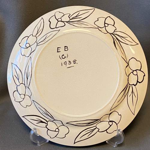 1930s Hand Painted Abstract Floral Design Plate image-4