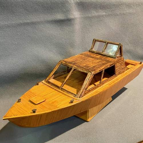 Prison Art Handmade Matchstick Motor Boat image-1
