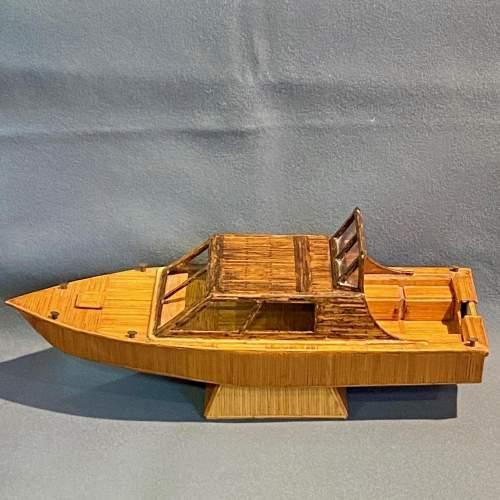 Prison Art Handmade Matchstick Motor Boat image-4