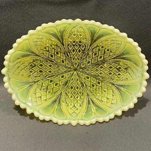 Davidsons Vaseline Pressed Glass Bowl image-2
