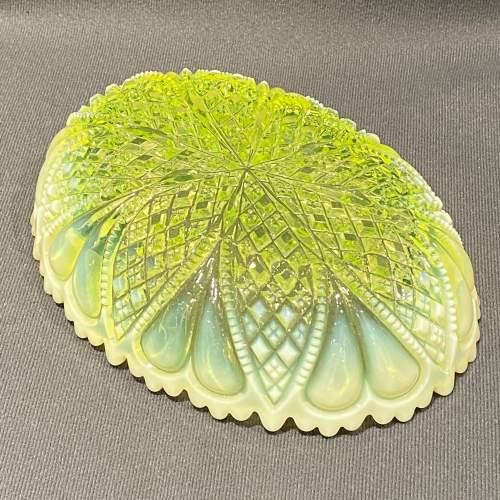 Davidsons Vaseline Pressed Glass Bowl image-3
