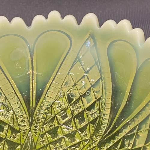 Davidsons Vaseline Pressed Glass Bowl image-4