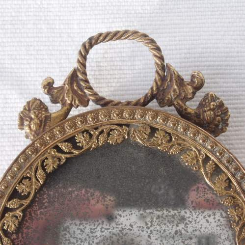 Early 19th Century Palais Royal Mother of Pearl and Ormolu Hand Mirror image-4