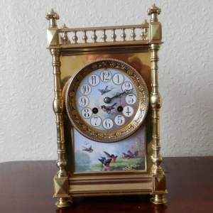 French Eight Day Clock with Porcelain Panels