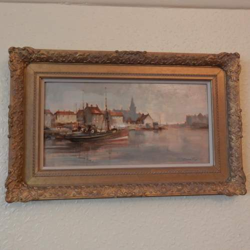 Oil on Board by Ivan Taylor  of Ostend Harbour image-1