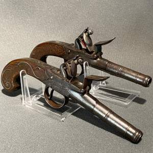 Quality Pair of Silver Mounted Pocket Pistols