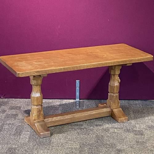 Robert Mouseman Thompson Carved Oak Coffee Table image-1