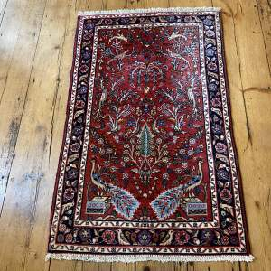 Superb Old Hand Knotted Persian Rug Hamadan Floral Bird Design