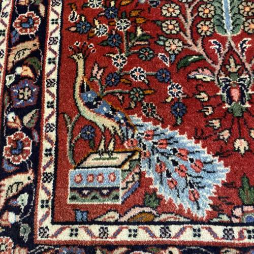 Superb Old Hand Knotted Persian Rug Hamadan Floral Bird Design image-2