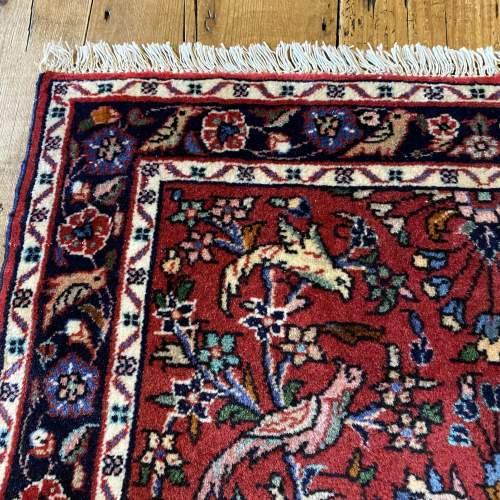 Superb Old Hand Knotted Persian Rug Hamadan Floral Bird Design image-4