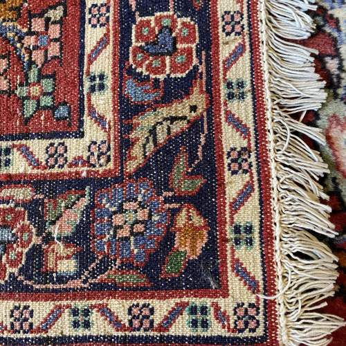 Superb Old Hand Knotted Persian Rug Hamadan Floral Bird Design image-5