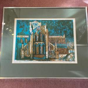 Norman Wade Signed Lino Print of Hexham Abbey