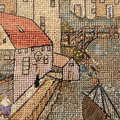 Early 20th Century Dutch Canal Needlework Picture image-3