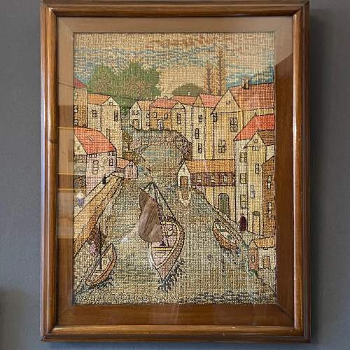 Early 20th Century Dutch Canal Needlework Picture image-1