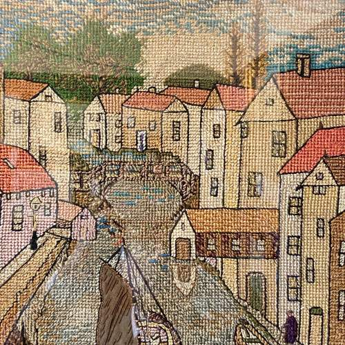 Early 20th Century Dutch Canal Needlework Picture image-2