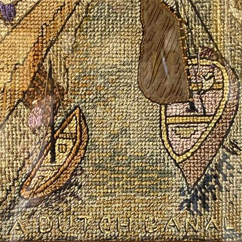 Early 20th Century Dutch Canal Needlework Picture image-4
