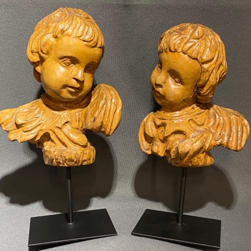 Pair of Antique Carved Wood Cherubs Heads image-1