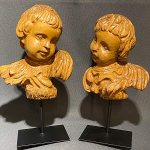 Pair of Antique Carved Wood Cherubs Heads
