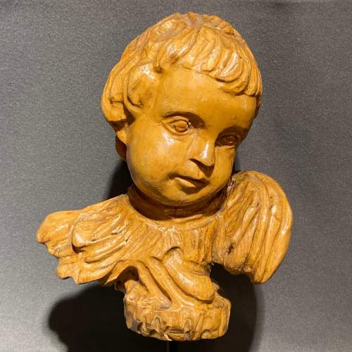 Pair of Antique Carved Wood Cherubs Heads image-2