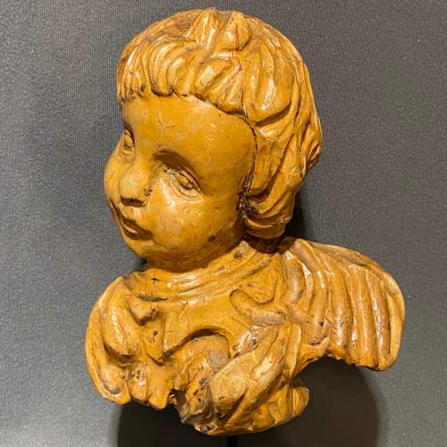 Pair of Antique Carved Wood Cherubs Heads image-3