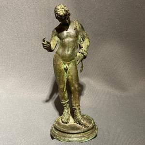 19th Century Grand Tour Patinated Bronze of Narcissus