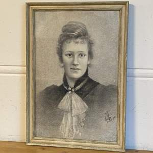 Edwardian Charcoal Portrait of a Young Woman