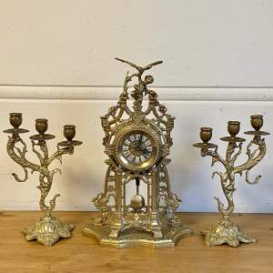 Decorative Brass Clock and Two Garnitures