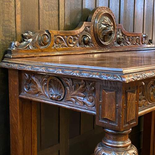 19th Century Carved Oak Side Table image-5